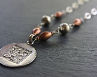 Sterling Silver Stamped Pendant Necklace with Copper