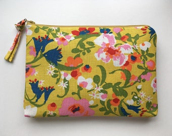 LARGE yellow and multi-colored floral vintage fabric zippered pouch
