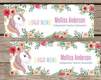 PRINTABLE Facebook Cover Digital File Home Office Approved, Unicorn and Flowers, Digital File LLR030