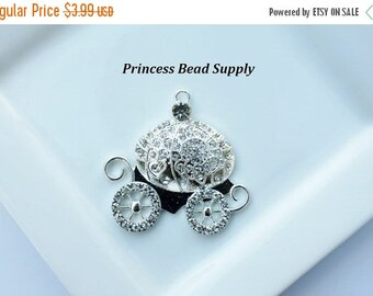 SALE Silver Princess Carriage Rhinestone Pendant for Chunky Necklaces, 48mm Carriage Pendant, Chunky Pendant, Carriage Cabochon