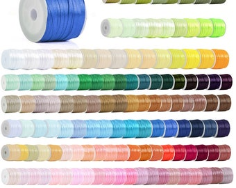 "50 Yards Satin Ribbon Spool, 1/8"" 3mm, Single-Sided, Wedding Embellishment, Gift Packing, Craft Bows, 160 Colors, V-RN0001(1-70)"