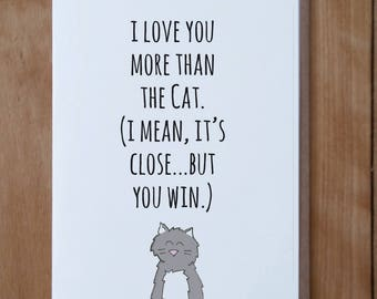 Cat Love Card, Valentine's Card,  Love Card, Friendship Card, Mother's Day Card, Anytime Card, Anniversary Card