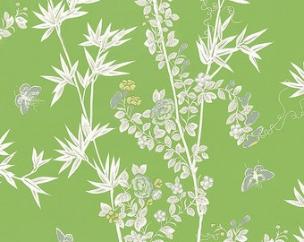 SCALAMANDRE CHINOISERIE BUTTERFLIES Cotton Toile  Fabric 10 Yards Jade