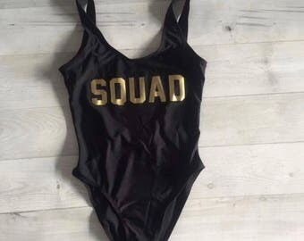Squad One Piece Swimsuit (Black w/ Gold)