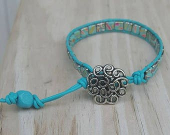 Bright turquoise leather wrap ladder bracelet, chan luu style, beaded bracelet, boho jewelry, gift for her, trendy jewelry, boho chic