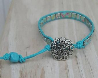Bright turquoise leather wrap ladder bracelet, chan luu style, beaded bracelet, boho jewelry, gift for her, trendy jewelry, boho chic