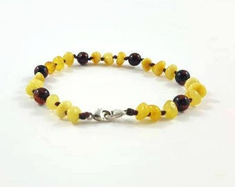 Adjustable Baltic Amber Teething Bracelet - Butter and Dark Cherry Polished Baltic Amber for teething