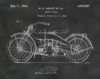1919 Harley Motorcycle Patent Print - Harley Poster - Wall Art - Harley Davidson Motorcycle - Motor Bike -Hells Angels - Man Cave Decor