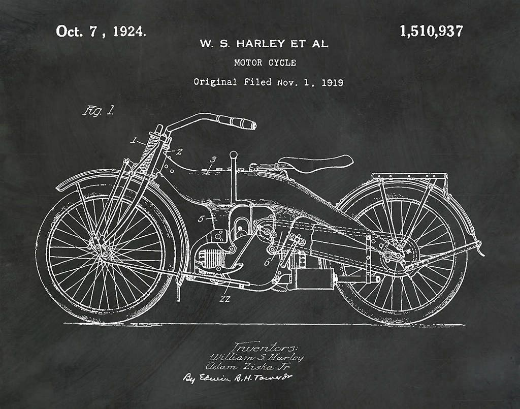 Ordinaire 1919 Harley Motorcycle Patent Print   Harley Poster   Wall Art   Harley  Davidson Motorcycle   Motor Bike  Hells Angels   Man Cave Decor