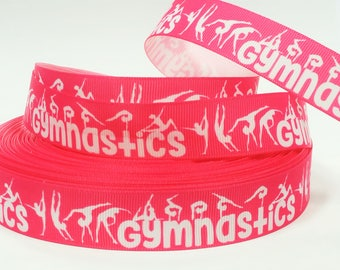 "7/8"" inch Gymnastics Gymnast White on Pink Background Sports Printed Grosgrain Ribbon for Hair Bow - Original Design"
