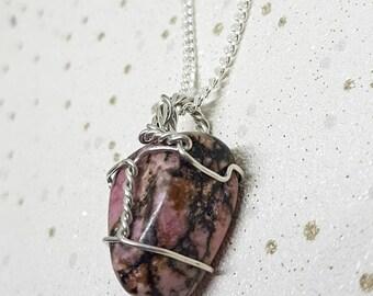 Rhodonite Crystal Necklace, Rhodonite Crystal, Wire Wrapped, Caged Rhodonite Necklace, Rhodonite Jewellery, Rhodonite, Mother's Day