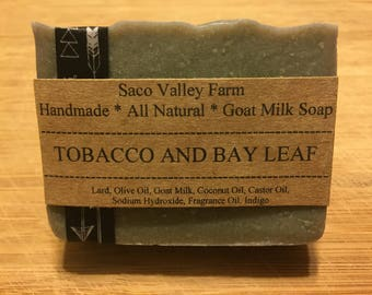Tobacco and Bay Leaf Goat Milk Soap, Cold Process Soap, Handmade Soap