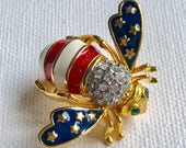 Signed, Marked Joan Rivers Patriotic, Stars and Stripes Bee Brooch, Pin, Great for July 4th - Independence Day