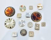 15 Watch face lot, watch parts, steampunk craft lot, upcycle recycle repurpose, jewelry supply