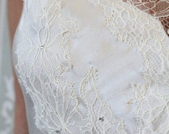 Luxury beautiful  loungewear handmade in England. Chantilly lace and luxury silk ivory colour bridal slip