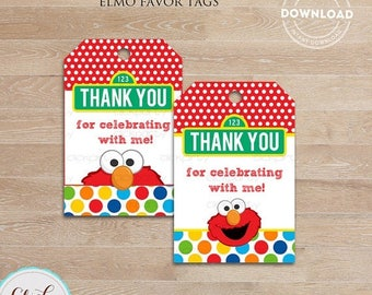 50% OFF SALE Elmo Favor tags, Gift tags, Thank you tags, Sticker tags, Party Decorations, Birthday Printables, INSTANT Download