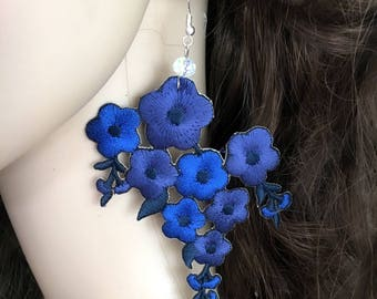 Lace Earrings, Royal Blue Earrings, Dangle Earrings, Statement Earrings, Boho Earrings
