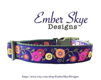 """Flowers on Purple Adjustable Dog Collar 1"""" Width"""
