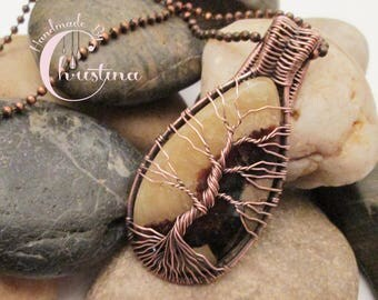 Oxidized Copper Wire Woven & Septarian Tree Of Life Pendant