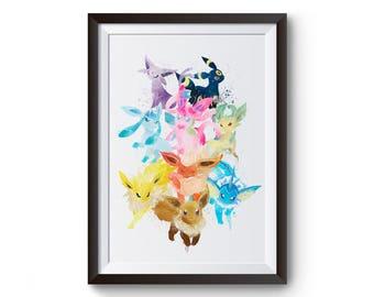 Pokemon Eevolution Eevee Jolteon Vaporeon Flareon Umbreon Sylveon Espeon Leafeon Glaceon Watercolor Print