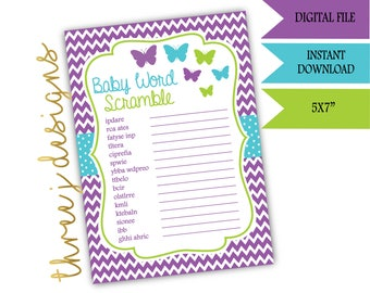 Butterfly Baby Shower Word Scramble Game - INSTANT DOWNLOAD - Purple, Teal, and Green - Digital File - J006