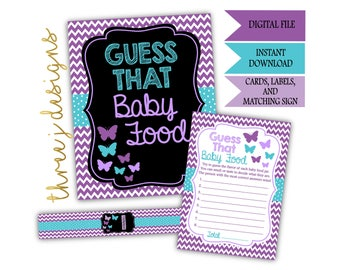 Butterfly Baby Shower Guess That Baby Food Game Cards, Labels and Sign - INSTANT DOWNLOAD - Purple and Teal - Digital File - J001