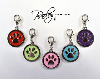 NEW! Paw Dog Cat Pet Collar Charm - Lime Green, Pink, Purple, Red or Teal