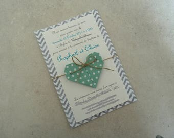 Handmade grey origami heart made baptism announcements / Mint / handmade / handcrafted