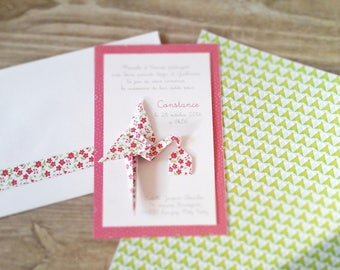 Make birth announcement - baptism - thank you card for daughter patterned origami Stork liberty raspberry / handmade