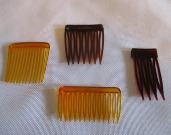 Set of 4 small vintage hair combs- brown and amber