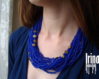 Ukrainian folk necklace to vyshyvanka. Blue multistrand necklace. Ukrainian style necklace. Necklace with gold color suns