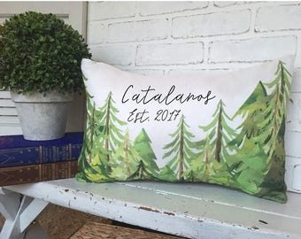 EVERGREEN FOREST PILLOW, Faux Burlap,Faux Cotton,Evergreen Pillow, Cabin Decorating, Cozy Cabin Pillow,Cabin Throw Pillow