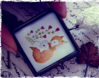 Small drawing framed to hang: Garden of love
