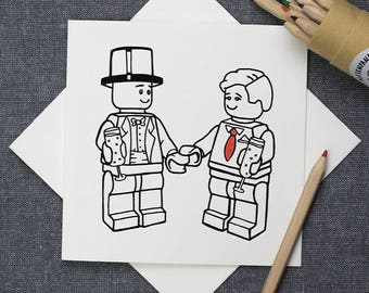 Grooms colour-in same sex wedding archival cotton card
