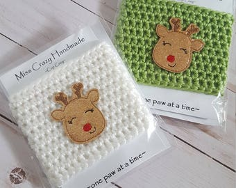 Christmas Cup Cozy, Reindeer Cup Cozy, Cup Cozy, Tea Cozy, Coffee Cozy, Coffee Sleeve, Crochet Cup Cozy, Crochet Coffee Cozy, Mug Sleeve