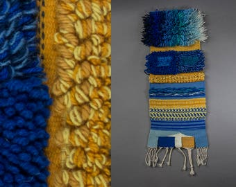 60's -70's Vintage Handcrafted Wallhanging, Vibrant Wool Weaving