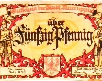 1921 Germany NEURUPPIN 50  Pnennig  Notgeld / Banknote