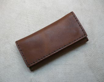 Handmade Sauvage Leather Tobacco Pouch (Tobacco Brown) Handcrafted Rolling Cigarettes Case