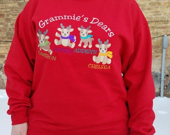 Personalized Reindeer Theme Sweatshirt For Grandma - Embroidered Design With Names