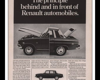 "Vintage Print Ad 1960s : Renault 10 Automobile Car Wall Art Decor 8.5"" x 11"" each Advertisement"