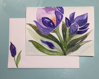 Abstract Flowers/Handpainted/Handmade Watercolor Greeting Card