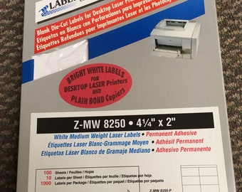 """Labelblank Z-MW 8250 Labels for Laser Printers and Copiers 4.25""""x2"""""""