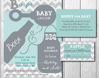 Couples Baby Shower Invitation with Matching Diaper Raffle Tickets & Book Request Inserts/DIGITAL FILES/printable/wording can be changed