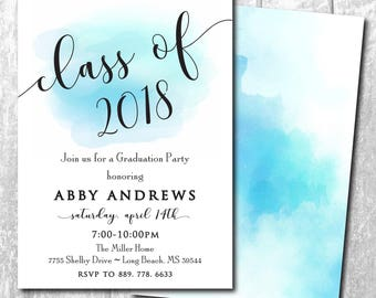 Graduation Party Invitation announcement printable/Digital file/simple, watercolor, girl, boy, blue, class of 2018/Wording can be changed