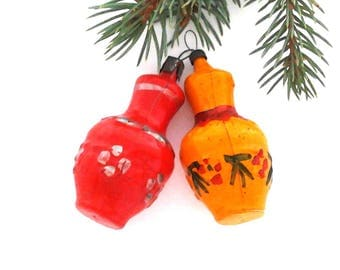 Set of 2 vintage soviet glass Christmas tree decoration - jugs / Christmas ornaments / Made in USSR, 1950s