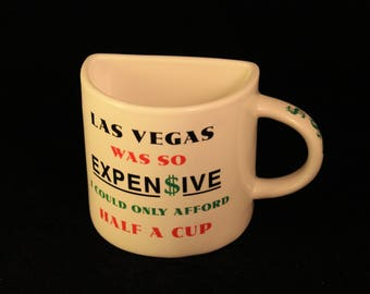 "Vintage Las Vegas ""Half Cup"" Ceramic Travel Souvenir Coffee Tea Mug Money Gift Novelty"