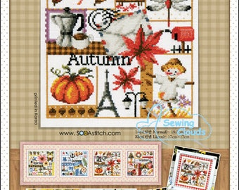 Four Seasons <Autumn> Counted cross stitch chart SODAstitch SO-3148