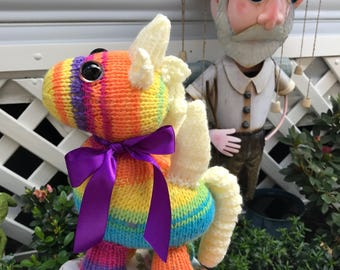 Unicorn. Soft Toy. Plushie. Hand Knitted. Rainbow. Collectable.