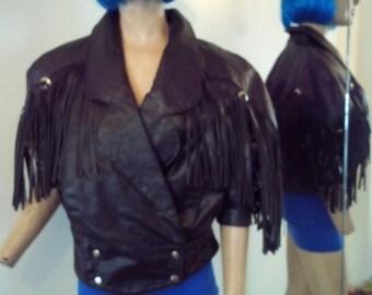 VINTAGE BLACK LEATHER fringed jacket...70's...medium