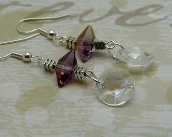 Lilac Swarovski crystal earrings